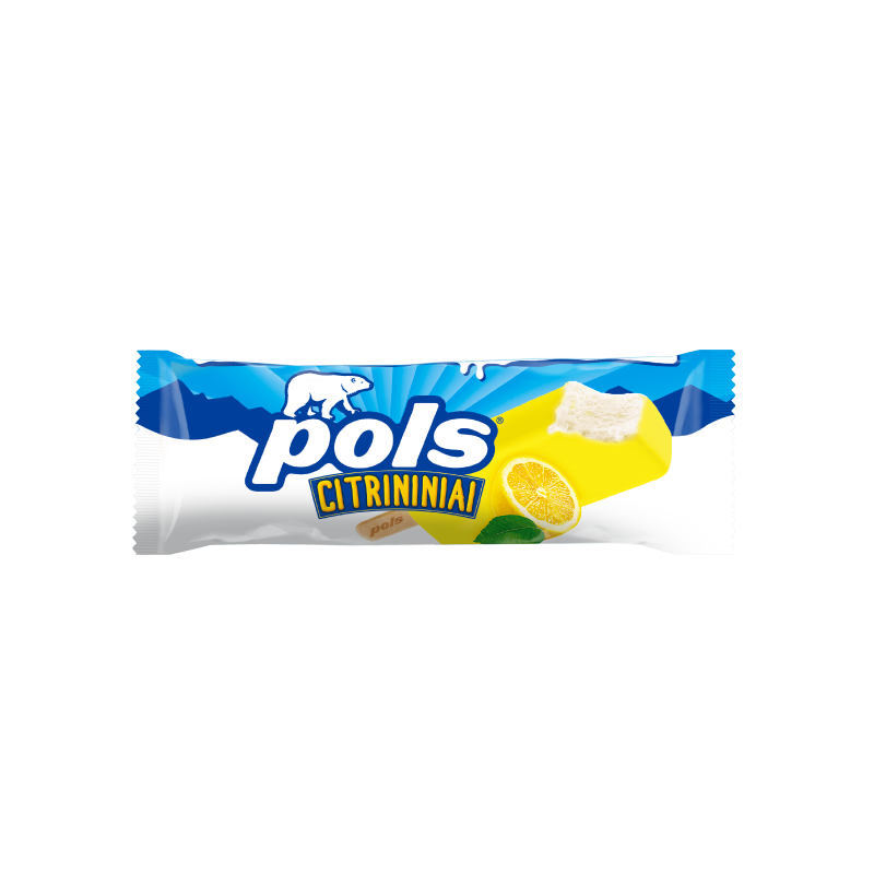 POLS lemon ice-cream coated in a lemon flavour glaze