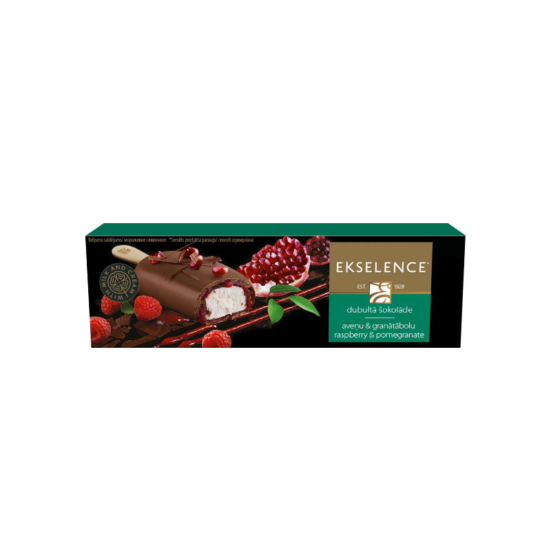 """""""Ekselence"""" Double ice cream with raspberries and pomegranate"""
