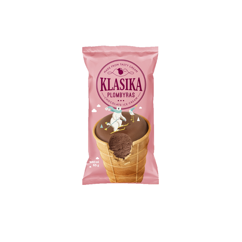 KLASIKA Chocolate ice cream in waffle cup.
