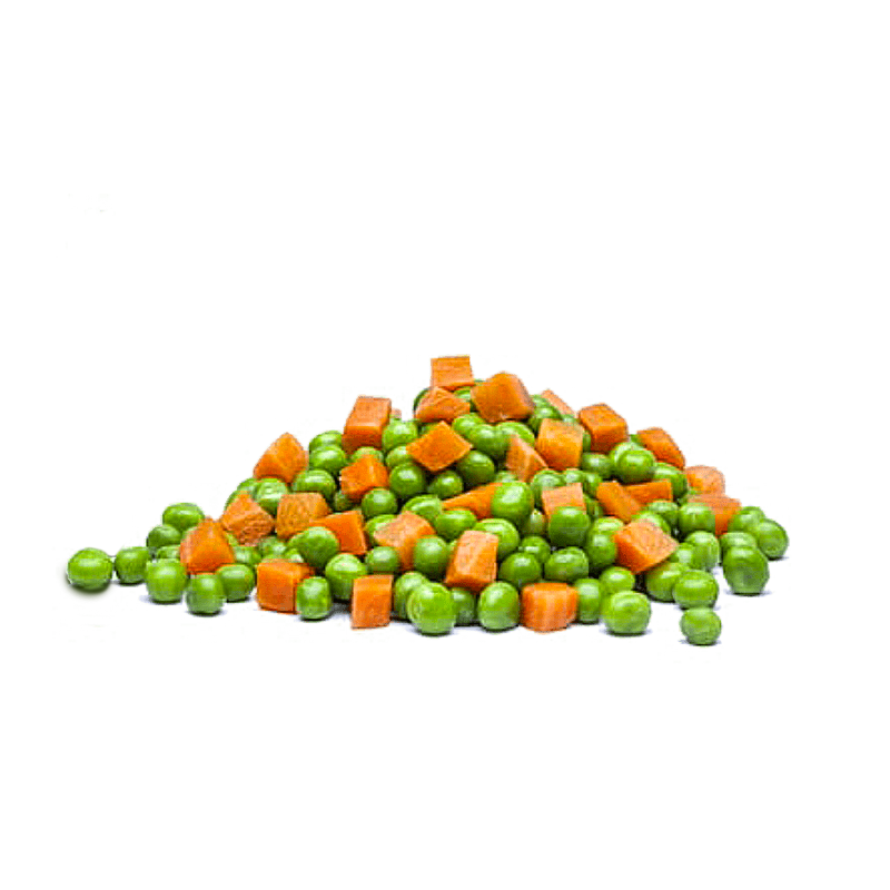 A mix of peas and carrots cubes