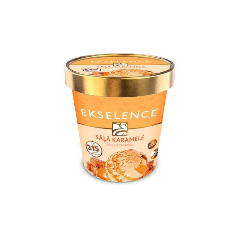 """Ekselence"" caramel ice cream with salty caramel sauce. With sugar and sweeteners"